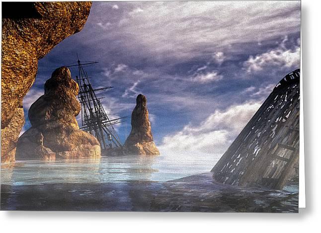 Dreamscape Greeting Cards - Shipwreck Greeting Card by Bob Orsillo