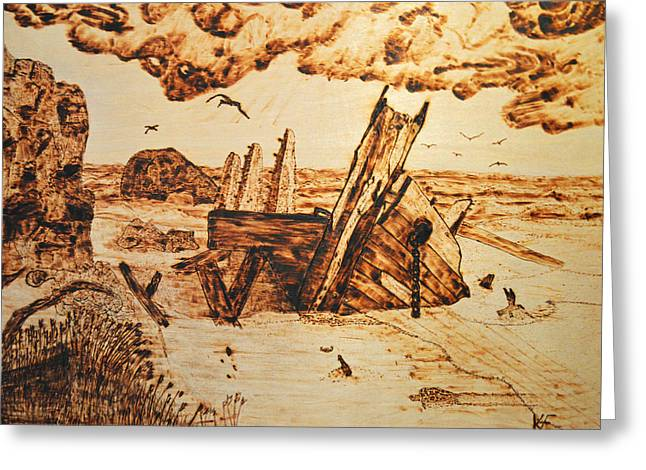 Dusk Pyrography Greeting Cards - Shipwreck Greeting Card by Ken Figurski