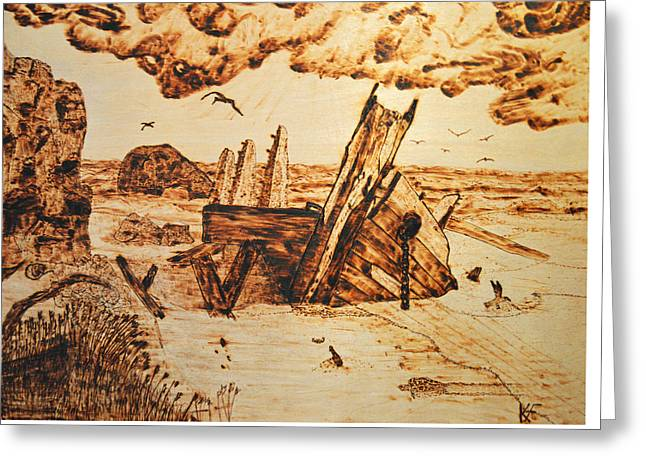 Tropical Oceans Pyrography Greeting Cards - Shipwreck Greeting Card by Ken Figurski