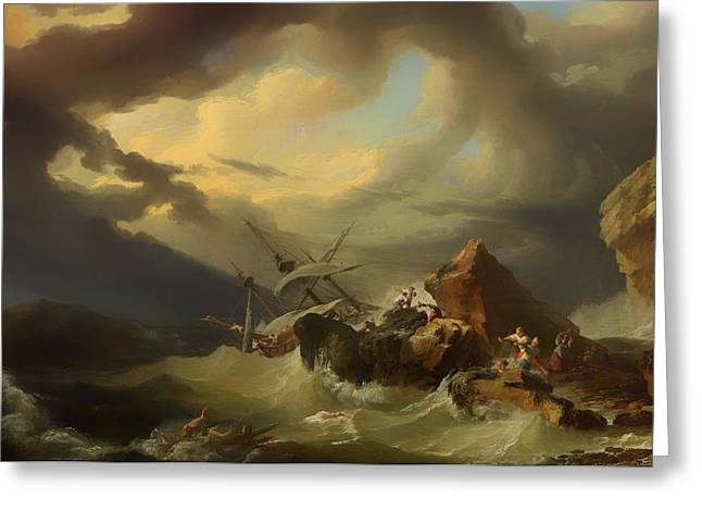 Survivor Art Paintings Greeting Cards - Shipwreck off a Rocky Coast Greeting Card by Philippe de Loutherbourg