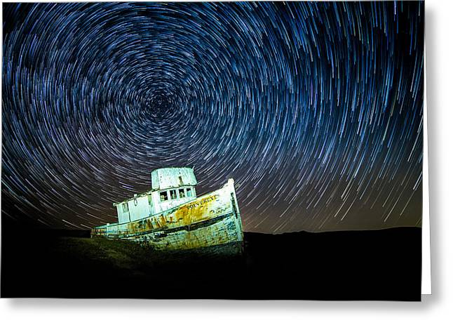 Startrails Greeting Cards - Shipwreck Greeting Card by Peter Irwindale