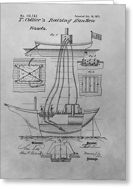 Treasures Drawings Greeting Cards - Shipwreck Recovery Patent Drawing Greeting Card by Dan Sproul