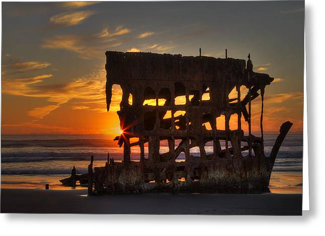 Shipwreck Sunburst Greeting Card by Mark Kiver