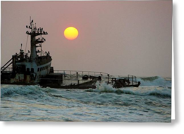 Scuttle Greeting Cards - Shipwreck Sunset Greeting Card by Jonathan Laverick