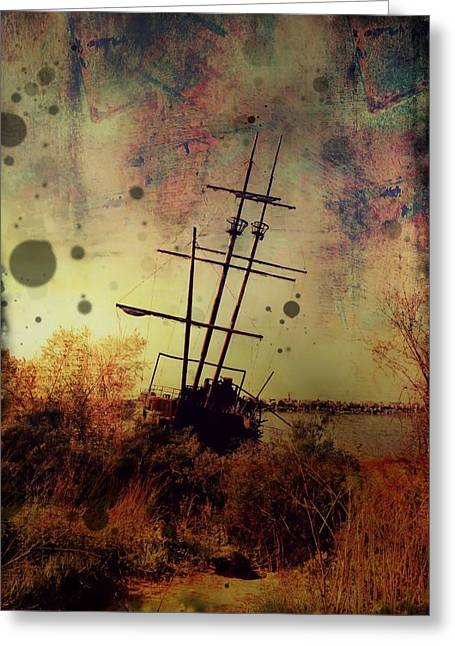 Pirate Ships Greeting Cards - Shipwreck Greeting Card by Tracy Munson