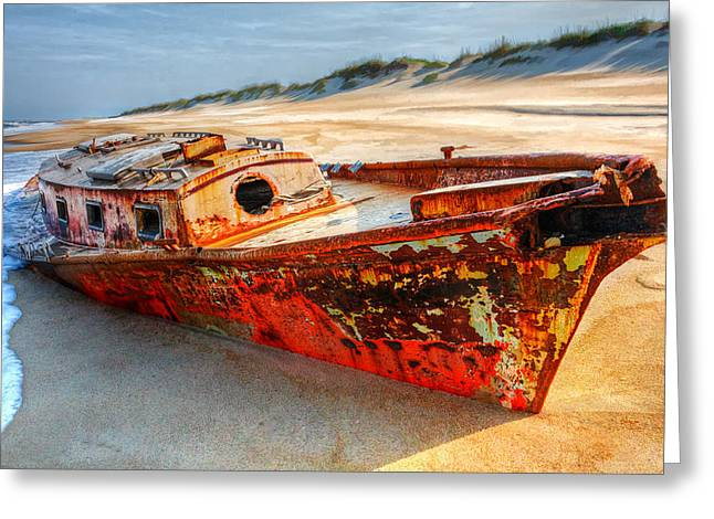Pea Island Greeting Cards - Shipwrecked Boat on Outer Banks front side view Greeting Card by Dan Carmichael