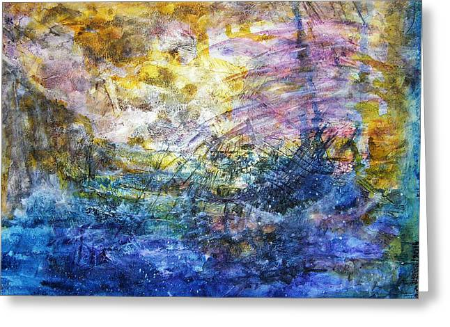 Stormy Weather Mixed Media Greeting Cards - Shipwrecked Greeting Card by Mimulux patricia no