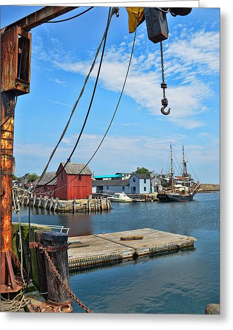 Sailboats In Harbor Greeting Cards - Shipyard of Cape Ann... Greeting Card by Joanne Beebe