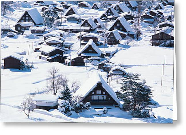Snow Drifts Greeting Cards - Shirakawagou Gifu Japan Greeting Card by Panoramic Images