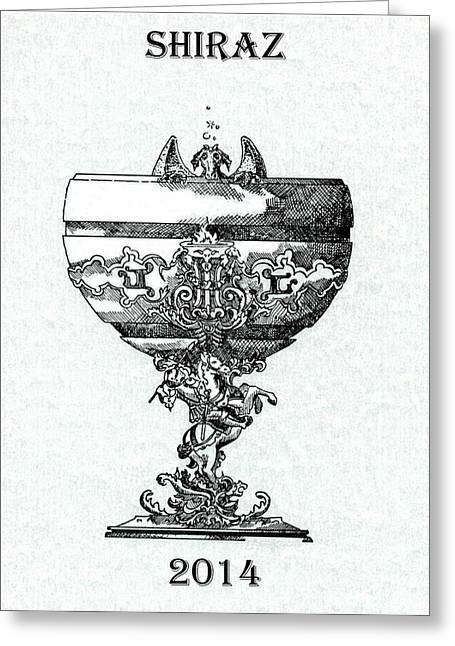 Champagne Glasses Drawings Greeting Cards - Shiraz Greeting Card by Julio R Lopez Jr