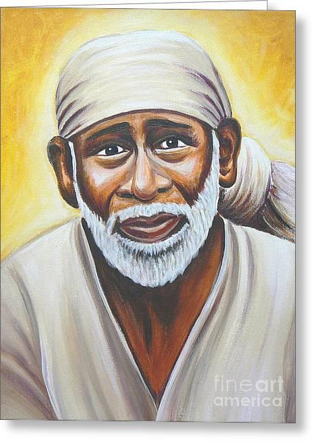 India Babas Paintings Greeting Cards - Shirdi Sai Baba Greeting Card by Gayle Utter