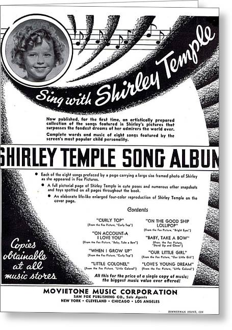 Shirley Temple Song Album Greeting Card by Mel Thompson