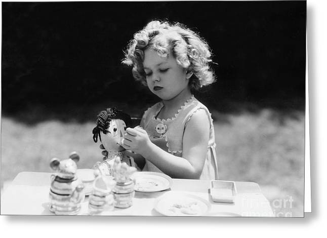 Shirley Temple Greeting Cards - Shirley Temple Tea Party With Doll Greeting Card by MMG Archives