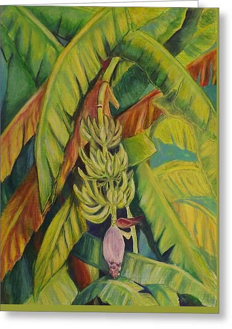 Banana Pastels Greeting Cards - Shirleys Bananas Greeting Card by Tricia Mcdonald