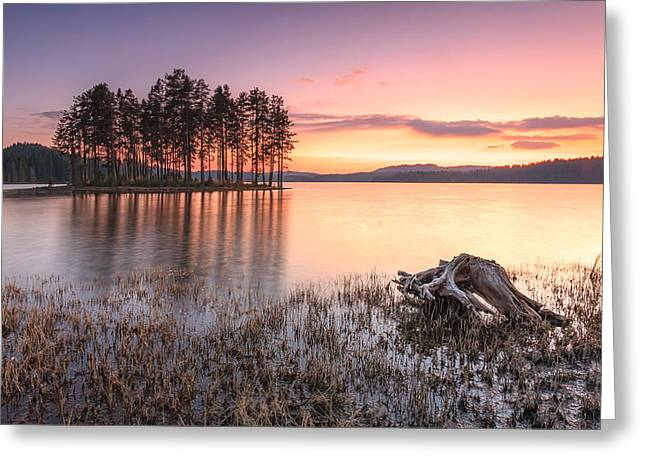 Islands Greeting Cards - Shiroka Polyana lake  Greeting Card by Evgeni Dinev