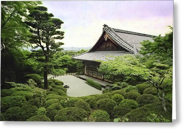 Kyoto Digital Greeting Cards - Shisendo Temple - Kyoto Japan Greeting Card by Daniel Hagerman