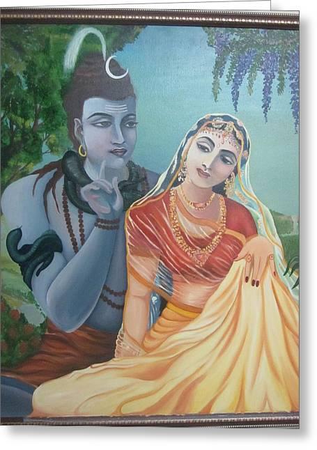 Nandi Greeting Cards - Shiv and Parvati Greeting Card by Alka  Malik