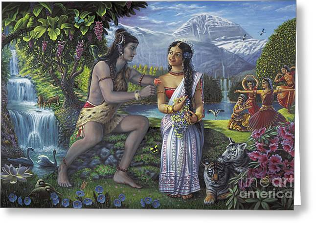 Mahadeva Greeting Cards - Shiva and Parvati Greeting Card by Vishnudas