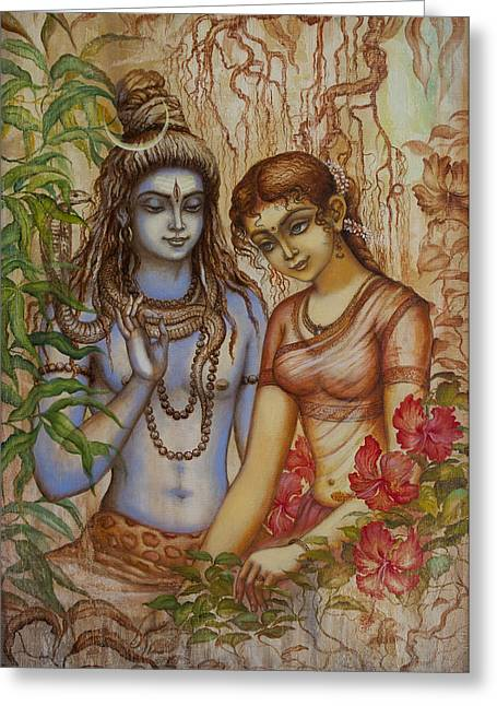Mahadeva Greeting Cards - Shiva and Parvati Greeting Card by Vrindavan Das