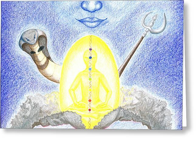 Shiva Greeting Card by Keiko Katsuta