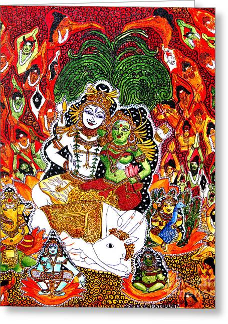 Kerala Murals Greeting Cards - Shiva kudumba Greeting Card by Saranya Haridasan