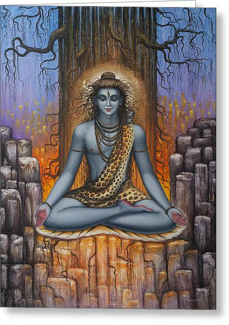 Samadhi Greeting Cards - Shiva meditation Greeting Card by Vrindavan Das