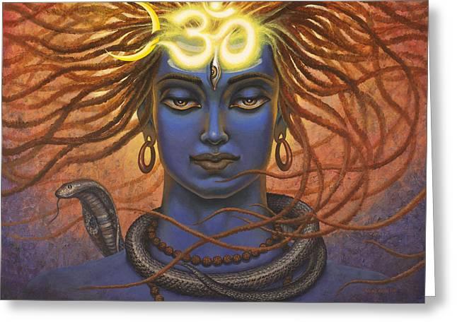 Rudra Greeting Cards - Shiva OM Greeting Card by Vrindavan Das