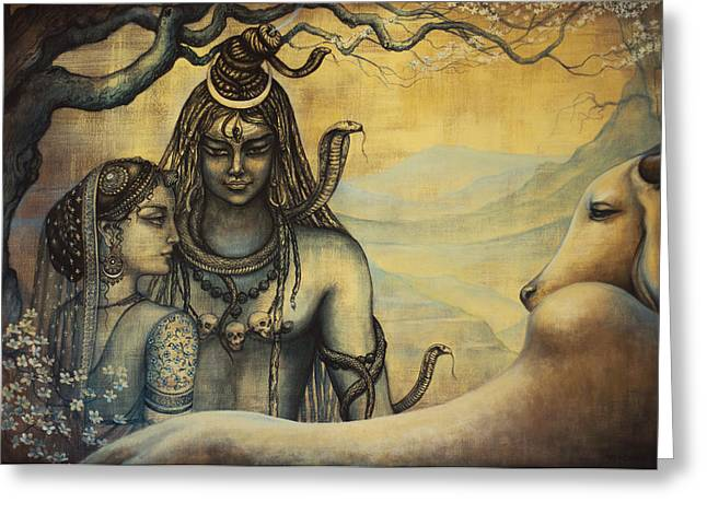 Mahadeva Greeting Cards - Shiva Parvati . Spring in Himalayas Greeting Card by Vrindavan Das