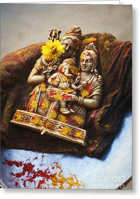 Ganapati Greeting Cards - Shiva Parvati Ganesha Greeting Card by Tim Gainey
