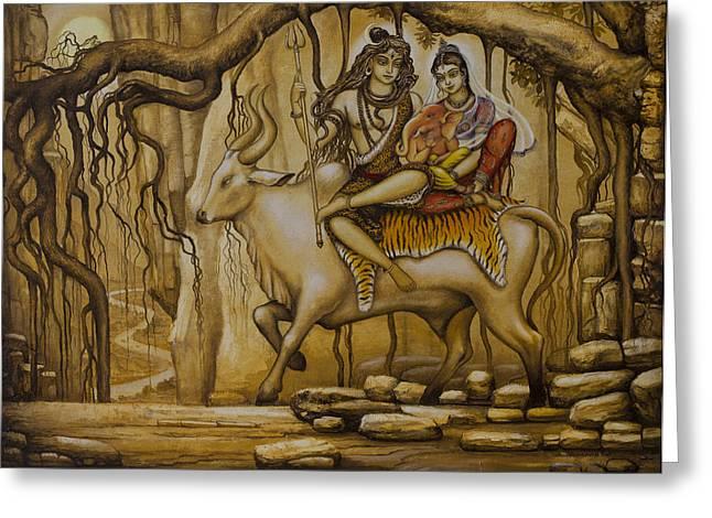 Shiva Parvati Ganesha Greeting Card by Vrindavan Das