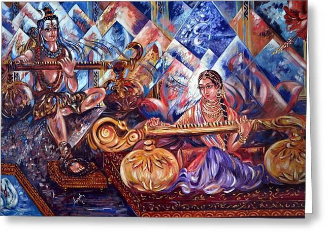 Shiva Parvati Greeting Card by Harsh Malik