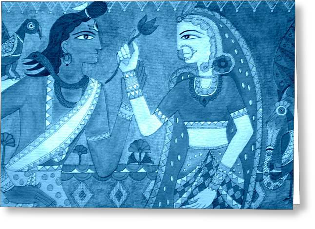 Shiva Parvati Greeting Card by Varsha Lad