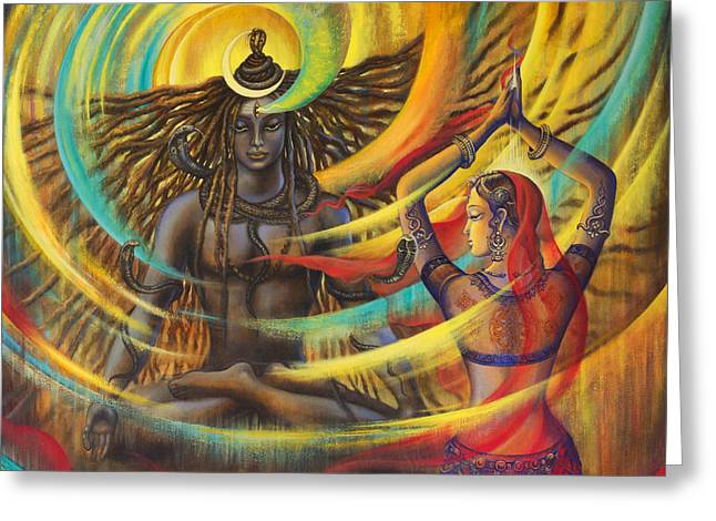 Acrylic Art Paintings Greeting Cards - Shiva Shakti Greeting Card by Vrindavan Das