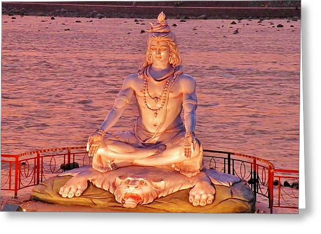 Religion Greeting Cards - Shiva Statue at Rishikesh India Greeting Card by Kim Bemis