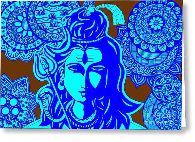 Goddess Durga Greeting Cards - Shiva with Mandalas Greeting Card by Sketchii Studio