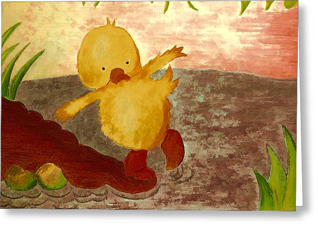 Temperature Drawings Greeting Cards - Shivery duck Greeting Card by Jo Ann