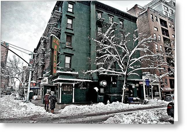 Wintry Photographs Greeting Cards - Shloshing Through The Streets Of Manhattan Greeting Card by Madeline Ellis