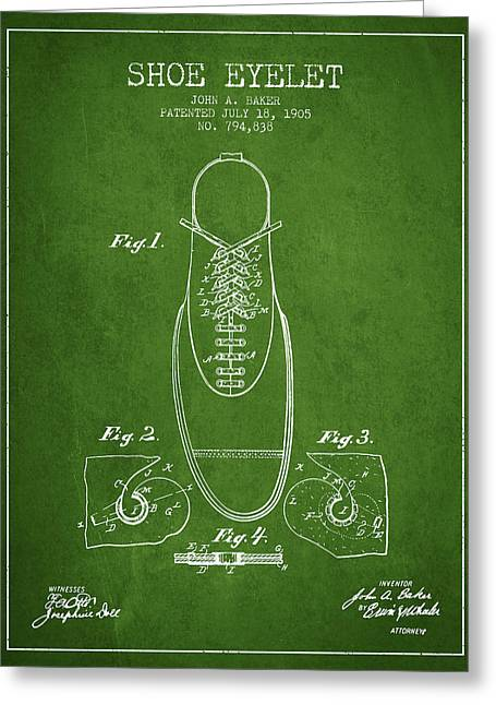 Boots Digital Art Greeting Cards - Shoe Eyelet Patent from 1905 - Green Greeting Card by Aged Pixel