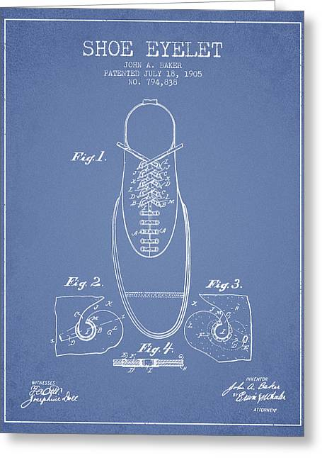 Boots Digital Art Greeting Cards - Shoe Eyelet Patent from 1905 - Light Blue Greeting Card by Aged Pixel