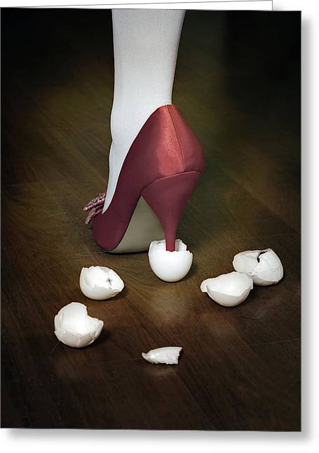 Cracked Eggs Greeting Cards - Shoe In Eggshells Greeting Card by Joana Kruse