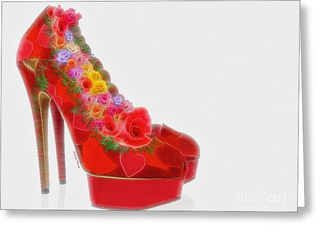 Rose Petal Heart Greeting Cards - Shoe Lover Greeting Card by Cheryl Young