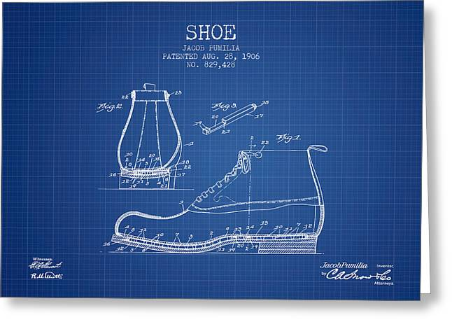 Boots Digital Art Greeting Cards - Shoe Patent from 1906 - Blueprint Greeting Card by Aged Pixel