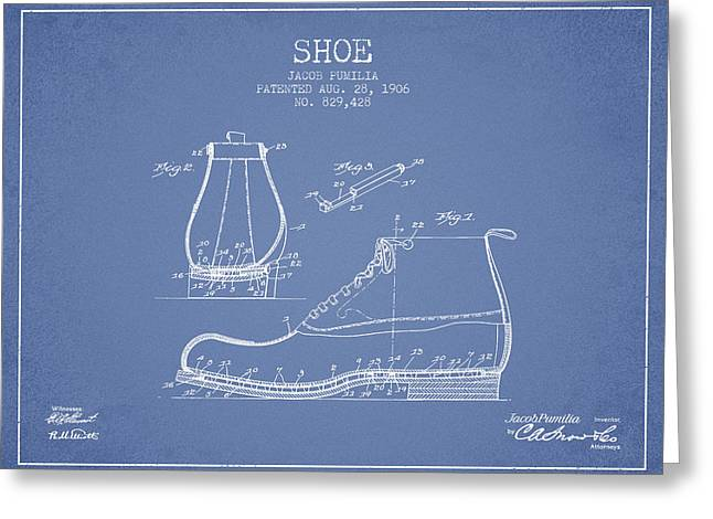 Bedroom Art Greeting Cards - Shoe Patent from 1906 - Light Blue Greeting Card by Aged Pixel