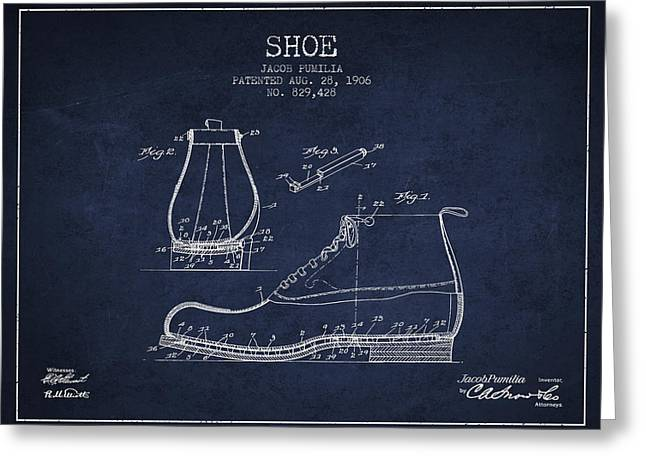 Boots Digital Greeting Cards - Shoe Patent from 1906 - Navy Blue Greeting Card by Aged Pixel
