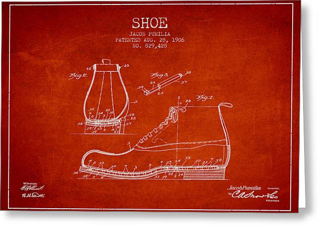 Boots Digital Greeting Cards - Shoe Patent from 1906 - Red Greeting Card by Aged Pixel