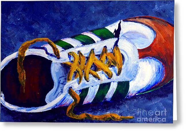 Softball Paintings Greeting Cards - Shoeless Greeting Card by Jackie Carpenter