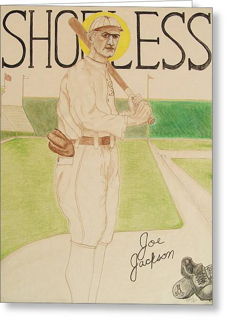 Baseball Art Greeting Cards - Shoeless Joe Jackson Greeting Card by Rand Swift