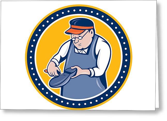 Shoe Repair Greeting Cards - Shoemaker Cobbler Circle Cartoon Greeting Card by Aloysius Patrimonio