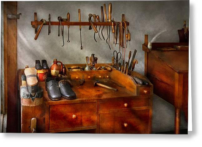 Shoemaker - The Cobblers Shop Greeting Card by Mike Savad