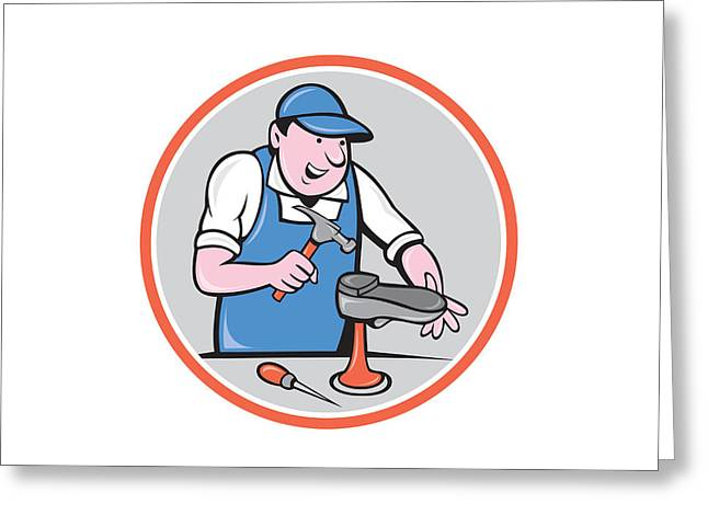 Shoe Repair Greeting Cards - Shoemaker With Hammer Shoe Circle Cartoon Greeting Card by Aloysius Patrimonio